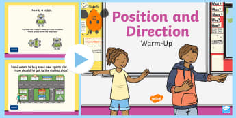 Year 2 Position and Direction Maths Warm-Up PowerPoint - Compass Point PowerPoint, KS1 Maths Warm Up Powerpoints, warm up, Order and arrange combinations of mathematical objects in pa