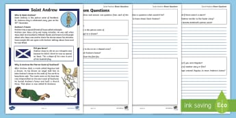 Saint Andrew Bloom Questions Reading Activity Sheet - St Andrew, St Andrew's Day, Patron Saint of Scotland, Scotland, worksheet, Blooms Taxonomy, Compreh