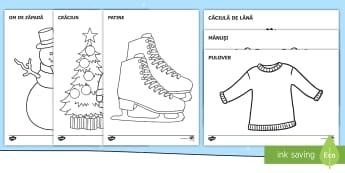 Imagini de iarnă Pagini de colorat - iarna, haine, îmbrăcăminte, comunicare, cum ne îmbrăcăm, vocabular pe tema iernii, imagini de