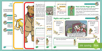 KS1 Myths and Legends Focused Reading Skills Comprehension Pack - Year 1, Year 2, comprehension, understanding, reading dogs, SATs style questions, content domains