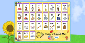 Summer Themed Phase 3 Sound Mat - phase three, sounds, seasons