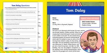 Great British Olympians: Tom Daley Differentiated Reading Comprehension Activity