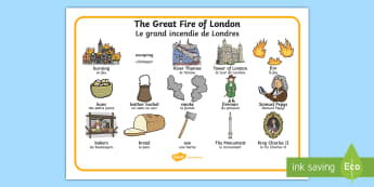 The Great Fire of London  Word Mat English/French - fire, history, london, vocabulary,fire of London