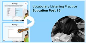 Education Post-16 Vocabulary Listening Practice PowerPoint-French