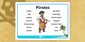 Pirates Word Mat - Word mat, writing aid ,  pirate, pirates, treasure, ship, jolly roger, ship, island, ocean