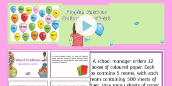 UKS2 Maths Word Problems and Popping Answers Balloon Activity - two-step problems, two step problems, Multi-step problems, multiplication, division, year 5, year 6,