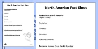 North America Factsheet Writing Template - north america, north america fact sheet, north america fact file, north america worksheet, ks2 geography