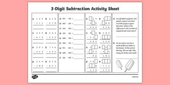 3-Digit Number Subtraction Worksheet / Activity Sheet, worksheet