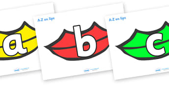 A-Z Alphabet on Lips (Multicolour) - A-Z, A4, display, Alphabet frieze, Display letters, Letter posters, A-Z letters, Alphabet flashcards