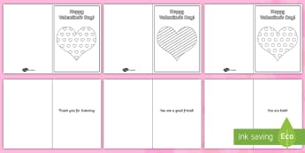Kindness Messages Valentine's Day Cards - card, valentines, kindness, colouring, heart