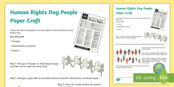 Human Rights Day Paper People Craft Activity - united nations, humanity, equality, different, same, individual