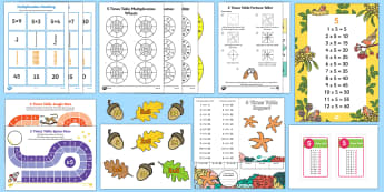 5 Times Table - 5 Times Table Resource Pack - 5 Times Table - 5 Times Table resources, five tames table, five times tables, 5x table, multiplicati