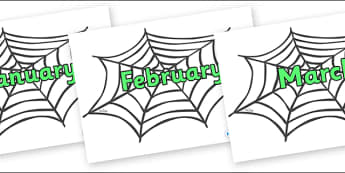 Months of the Year on Spiders Web - Months of the Year, Months poster, Months display, display, poster, frieze, Months, month, January, February, March, April, May, June, July, August, September