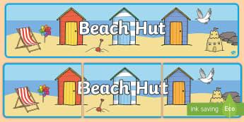 Beach Hut Banner - Seaside, Holiday, Display, Role Play, Seashore