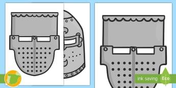 Máscaras de juego de rol: Cascos medievales. - edad media, castillos, caballeros, yelmos, disfraz, primaria, juego de rol, roles, material educativ