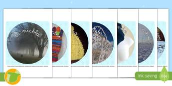 Fotos de exposición para recortar: El invierno - invernal, muñeco de nieve, bufanda, guantes, hielo, escarcha, frío, clase, colegio, escuela, recur