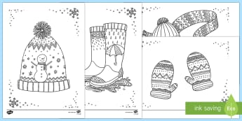 Adult Colouring Mindfulness Winter Clothes Sheets - Mindfulness Colouring, winter, seasons, cold, anxiety, mindful, calm, wet play, wellies, adult, adult mindfulness