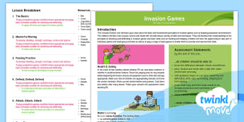 Unit Overview - Year 3 PE Invasion Games Lesson