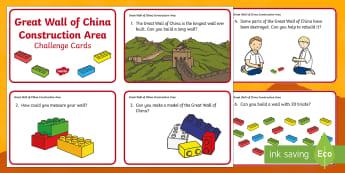 The Great Wall of China Construction Area Challenge Cards - great wall of china, china, chinese new year, construction, build, bricks, challenge, festivals