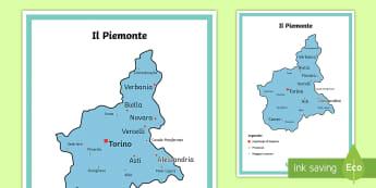 Scuola Primaria: Il Piemonte Cartina Politica - italia, regioni, regionale, geografia, mappa, italiano, italian, materiale, scolastico