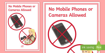 No Mobile Phones or Cameras Allowed Display Poster  - Behaviour, management, mobile, Phone, poster, role play, rules.