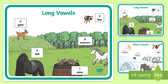 Long and Short Vowels Display Posters  - Classroom Management and Organization, english, language, long vowels, short vowels, grade 1, grade