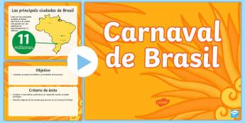 El Carnaval de Brasil Presentación - carnaval, celebración, carnavales, brasil, rio de janeiro, español
