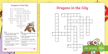Dragons in the City Crossword - Originals, fiction, Chinese New Year, puzzle, crisscross, quiz, independent activity, vocabulary che