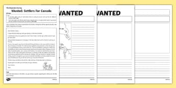 Wanted: Settlers for Canada Poster Activity to Support Teaching on The Desperate Journey Pack - highlgand clearances, ks2, scotland, scottish, north america, travel, expedition, history, geography, literacy, story, cfe curriculum for excellence