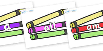 Foundation Stage 2 Keywords on Crayons - FS2, CLL, keywords, Communication language and literacy,  Display, Key words, high frequency words, foundation stage literacy, DfES Letters and Sounds, Letters and Sounds, spelling
