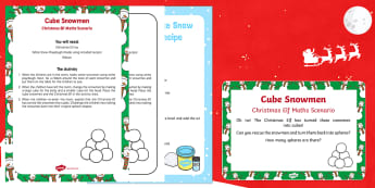 Cube Snowmen Christmas Elf Maths Scenario