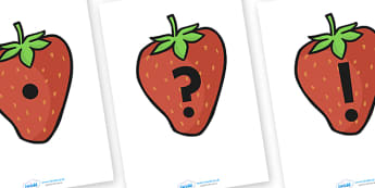 Punctuation Marks on Strawberries - Punctuation, VCOP, flashcard, flashcards, writing aid, writing aids, ellipsis, comma, brackets, semicolon, colon,  full stop, capital letter, foundation stage literacy, letters and sounds, DfES, KS1