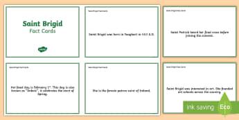 St.  Brigid Fact Cards - ROI St. Brigid's Day , bridget, Ireland,,Irish