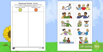 Classroom Choices Cutting Skills Worksheet / Activity Sheet English/Mandarin Chinese - Back to School, good choices, poor choices, cutting, first day of school, fine motor, worksheet, act