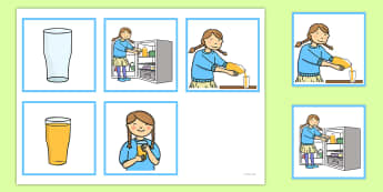 5 Step Sequencing Cards Pouring Juice - sequencing, cards, juice
