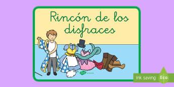 Póster DIN A4: El rincón de los disfraces - rincones, rincón, decoración de la clase, disfrazar, disfraz,Spanish