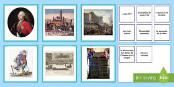 Cartes pour jeu de paires : Mots et images de la Révolution - La Révolution, cycle 2,  KS2,The French Revolution, Bastille Day, Bastille, Prise de la Bastille, 1