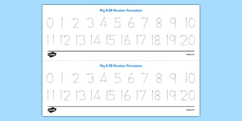 Number Formation Tracing Strips 0-20 - number formation, number, formation, tracing strips, 0-20, overwriting