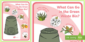 What Can Go In The Green Waste Bin? Display Poster - tidy kiwi, New Zealand, rubbish, recycling, Years 1-6, green waste