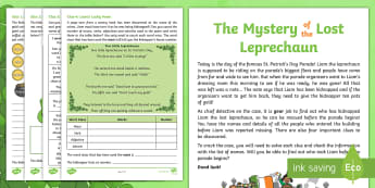 KS1 The Mystery of the Lost Leprechaun St. Patrick's Day SPaG Problem-Solving Game - Saint Patrick's Day, Crime, Crack the code, detective story, Clues, Whodunit, whodunnit, puzzle, lo