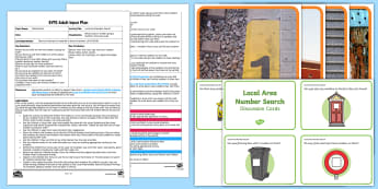 EYFS Local Area Number Search Adult Input Plan and Resource Pack - Mathematics, Numbers, Walk, Outdoors, Numerals, Environment, Search, Hunt, Identify, Interest, House