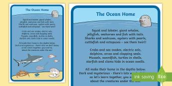 The Ocean Home Poem - Under the sea, poetry, english curriculum, reading, marine life, underwater,Australia