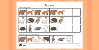 The Mitten Complete the Pattern Worksheets - the mitten, pattern