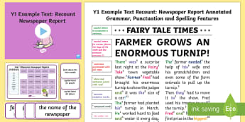 Y1 Recounts: Newspaper Report Example Text - Example Texts Y1, exemplification, moderating, moderation, wagoll, SATs, fiction, non-fiction, sampl