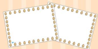 Egg Landscape Page Borders- Landscape Page Borders - Page border, border, writing template, writing aid, writing frame, a4 border, template, templates, landscape