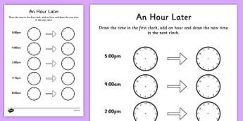 An Hour Later Worksheet - time worksheet, analogue clock worksheet, clock worksheet, telling the time, time telling, an hour later, time conversion