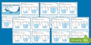 KS1 Measure Capacity Differentiated Challenge Cards - KS1 Maths, choose and use appropriate standard units to estimate and measure  capacity (litres/ml) t