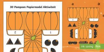 Eenvoudige Maak Jou Eie 3D Pampoen Halloween Papier Kuns - Oktober, maak, kreatief, pampoen, papier, knip, plak