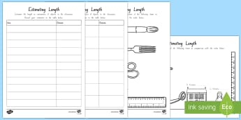 Estimating Length Activity Sheet - New Zealand Maths, worksheet, maths, measuring, estimate, estimations, units of measurement, centime