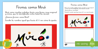Ficha de actividad: Firma como Miró  - Miró, surrealismo, arte, dibujo, pintor,Spanish